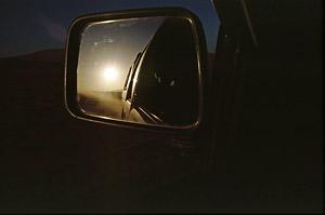 Sonne im Spiegel mit Scanner